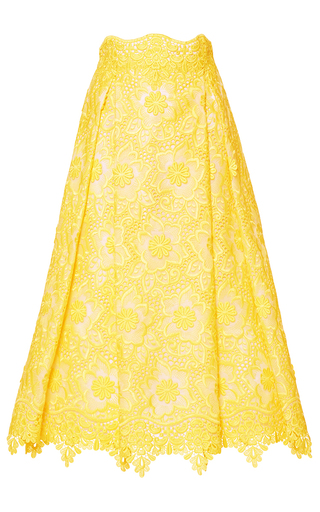 Medium costarellos yellow midi brocade organza skirt
