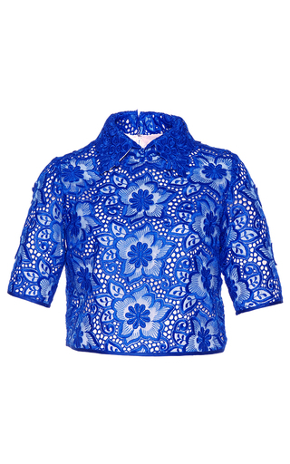 Medium costarellos blue brocade organza top