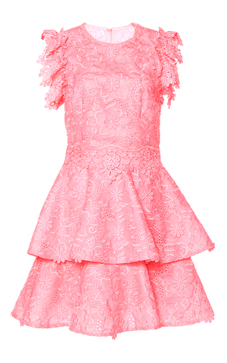 Medium costarellos pink embroidered organza midi dress