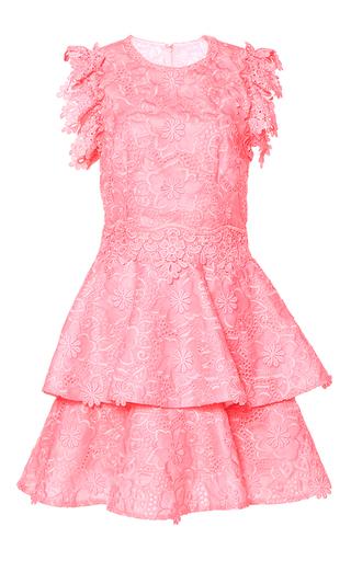 Medium costarellos pink embroidered organza midi dress