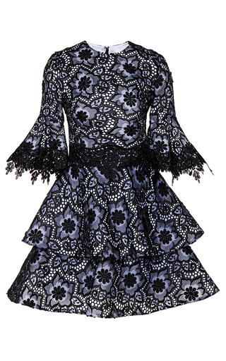 Embroidered Organza Flared Sleeve Dress By Costarellos