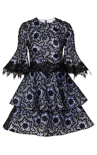 Medium costarellos black embroidered organza flared sleeve dress