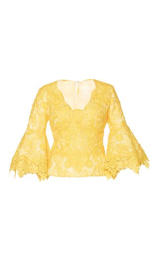 Medium costarellos yellow brocade organza v neck top