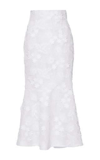 Medium costarellos white floral applique fluted skirt