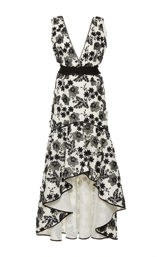 Medium costarellos black v neck high low flared dress