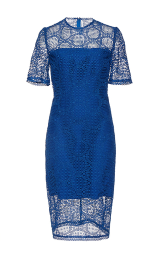 Medium costarellos navy guipure lace illusion detail dress