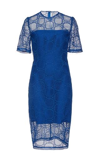 Medium costarellos navy guipure lace illusion detail dress