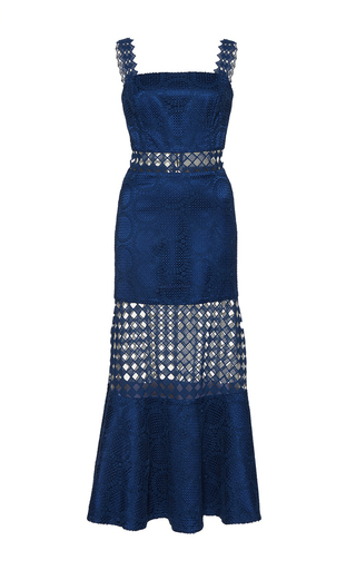 Medium costarellos navy guipure lace flared midi dress
