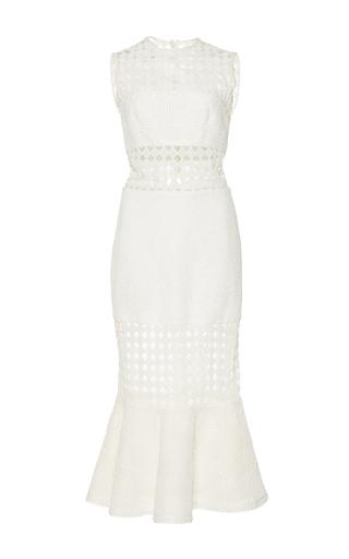 Medium costarellos white guipure lace fluted dress