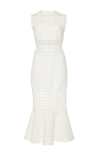 Medium costarellos white guipure lace fluted dress