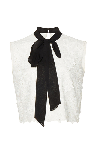 Medium costarellos white embroidered cut lace top