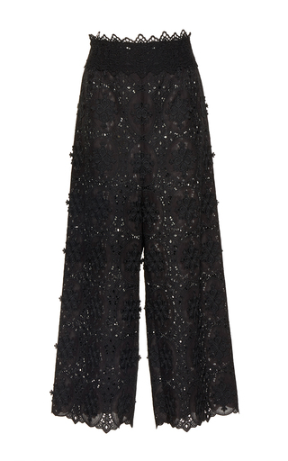 Medium costarellos black embroidered cut lace trousers