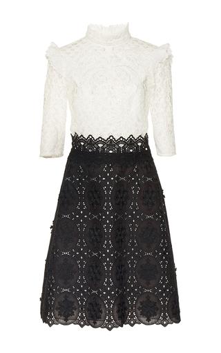 Medium costarellos black black white embroidered cut lace dress