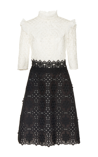 Medium costarellos black black white embroidered cut lace dress