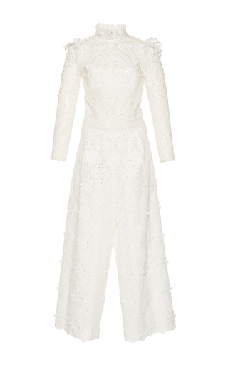 Medium costarellos white embroidered cut lace jumpsuit