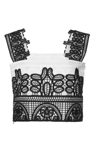 Medium costarellos white geometrical guipure lace top