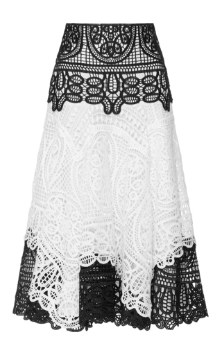 Medium costarellos white geometrical guipure lace skirt