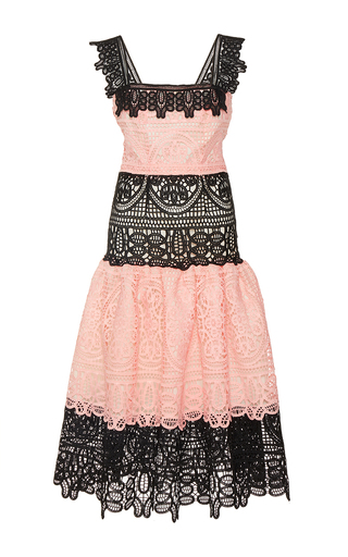 Medium costarellos pink guipure lace midi dress