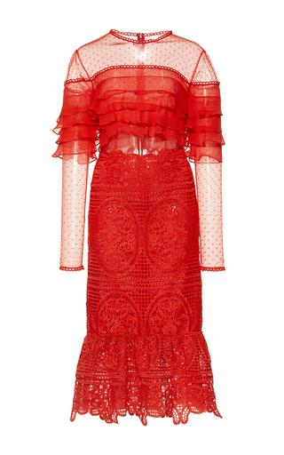 Medium costarellos red geometrical guipure lace illusion dress