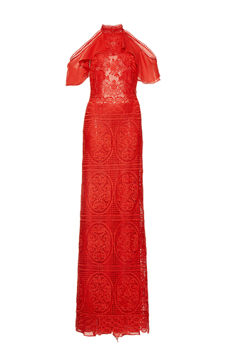Medium costarellos red geometrical guipure lace halter neck dress