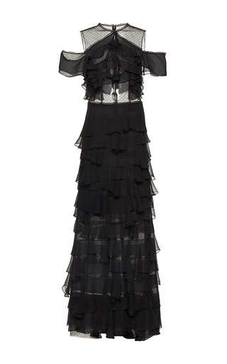 Medium costarellos black silk chiffon tiered dress