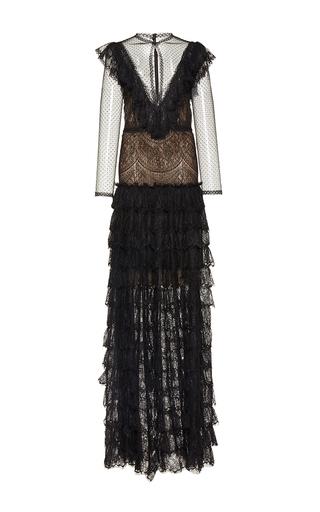 Medium costarellos black chantilly lace ruffled long dress