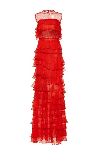 Medium costarellos red silk chiffon tiered long dress