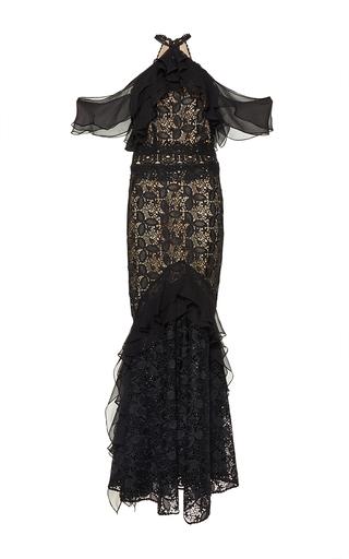 Medium costarellos black guipure lace off the shoulder dress