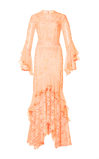 Medium costarellos pink guipure lace ruffle sleeve dress