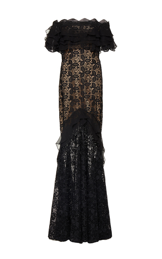 Medium costarellos black guipure lace and silk chiffon long dress