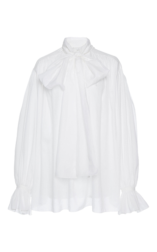 Medium vika gazinskaya white scarf neck cotton blouse