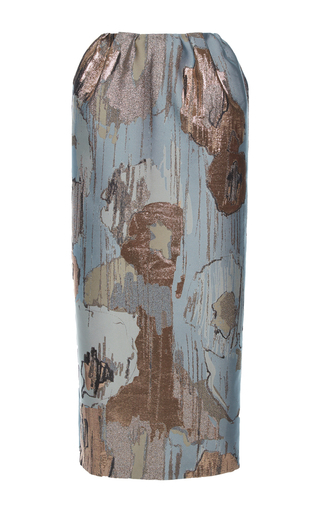 Medium vika gazinskaya blue metallic midi length skirt