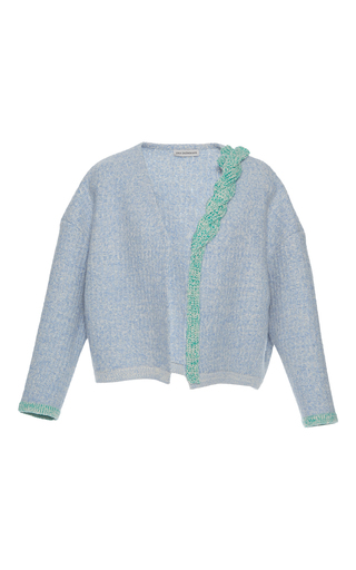 Medium vika gazinskaya blue cable knit wool cardigan