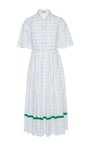 Medium vika gazinskaya white pintuck checkered dress