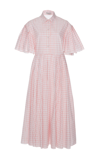 Medium vika gazinskaya pink checkered shirt dress