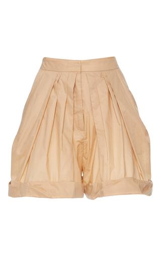 Medium vika gazinskaya brown high waisted pleated cotton shorts