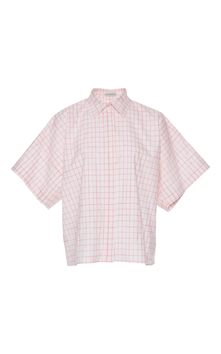 Medium vika gazinskaya pink checkered short sleeve blouse
