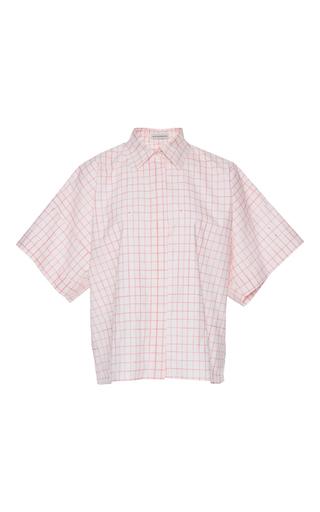 Medium vika gazinskaya pink checkered short sleeve blouse