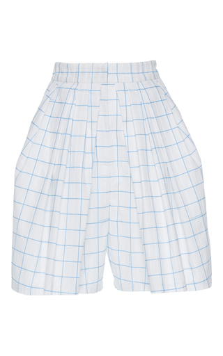 Medium vika gazinskaya white high waisted pleated checkered shorts