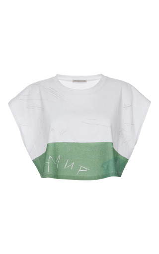Medium vika gazinskaya white cropped scribble t shirt