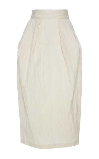 Medium vika gazinskaya white silk linen midi length skirt