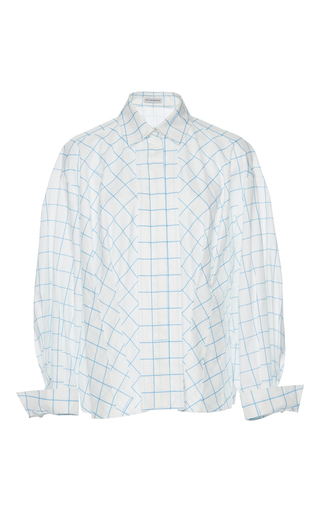 Medium vika gazinskaya white checkered blouse