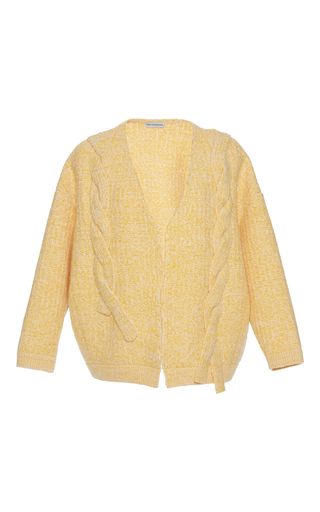 Medium vika gazinskaya yellow yellow cable knit cardigan