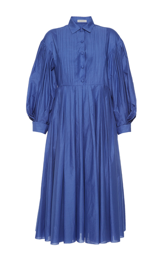 Medium vika gazinskaya blue pintuck shirt dress