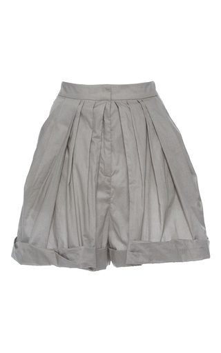 Medium vika gazinskaya light grey grey high waisted pleated shorts