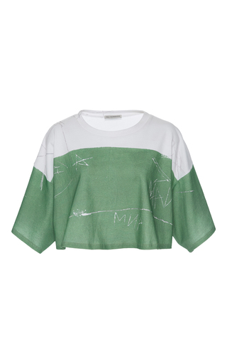 Medium vika gazinskaya green green cropped scribble t shirt