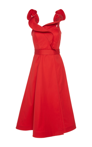 Medium vika gazinskaya red white red ruffle wrap dress