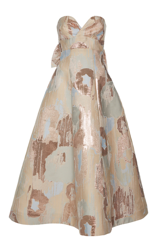 Medium vika gazinskaya multi metallic detail back bow dress