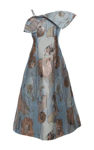 Medium vika gazinskaya blue metallic detail bow dress