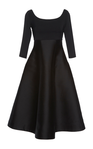 Medium vika gazinskaya black bateau neck a line dress